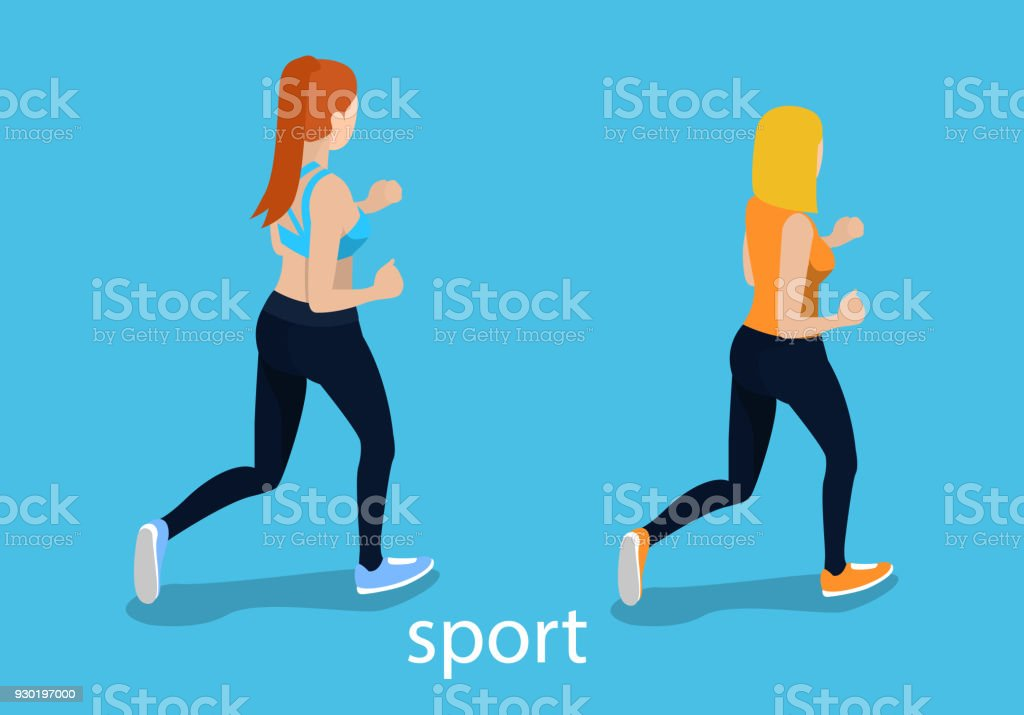 The girl goes in for sports. The woman is jogging isometric 3D illustration vector