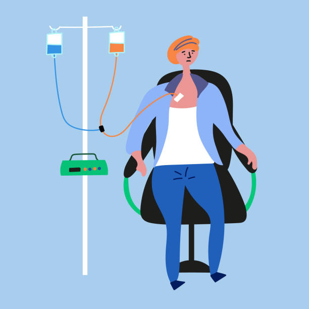 The girl has cancer. He is undergoing medical chemotherapy The girl has cancer. He is undergoing medical chemotherapy. Cancer girl. Vector eps 10 file editable chemotherapy cancer stock illustrations