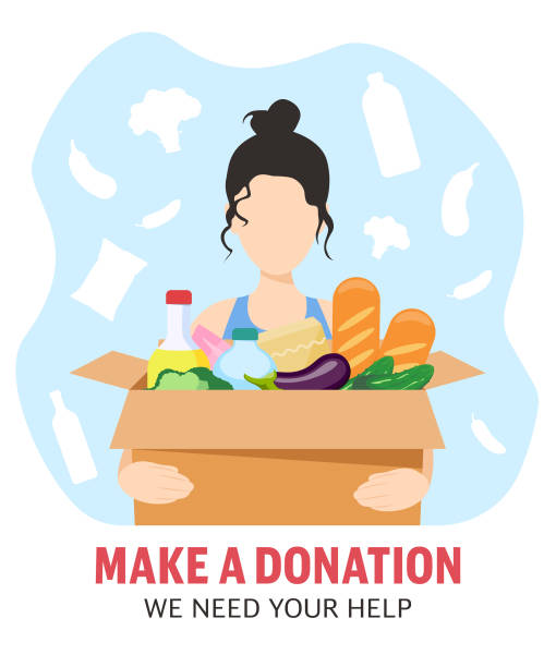 The girl holds a box with food. Food delivery. Food donation The girl holds a box with food. Food delivery. Food donation food bank stock illustrations