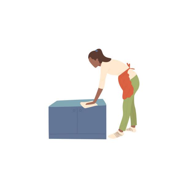 Das Mädchen hält einen Lappen in den Händen und reibt Staub – Vektorgrafik