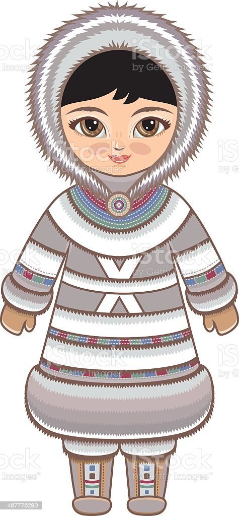 The girl in Eskimo dress. Historical clothes. vector art illustration
