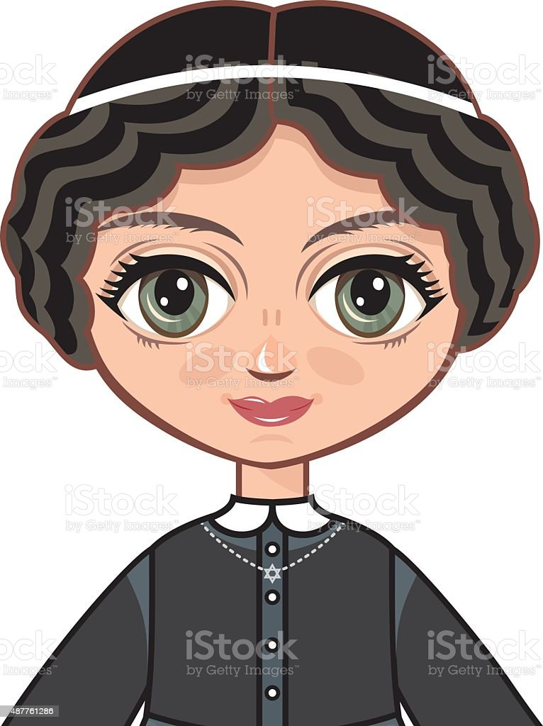 The girl in Orthodox Jews  dress. Portrait, avatar. vector art illustration