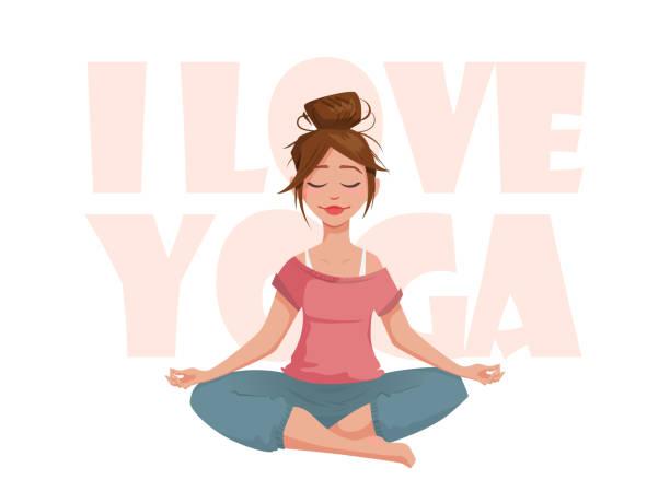 bildbanksillustrationer, clip art samt tecknat material och ikoner med flickan i lotus pose mediterar. - kvinna tillfreds