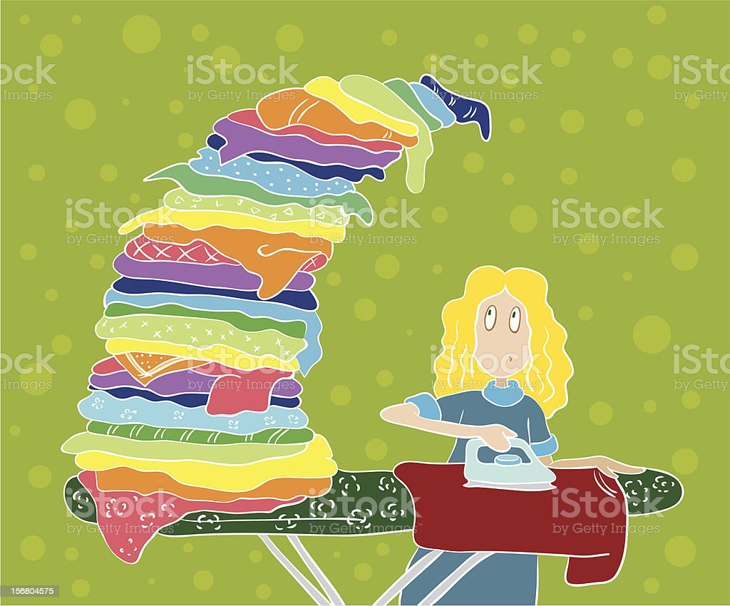 The girl irons shirt royalty-free the girl irons shirt stock vector art & more images of activity