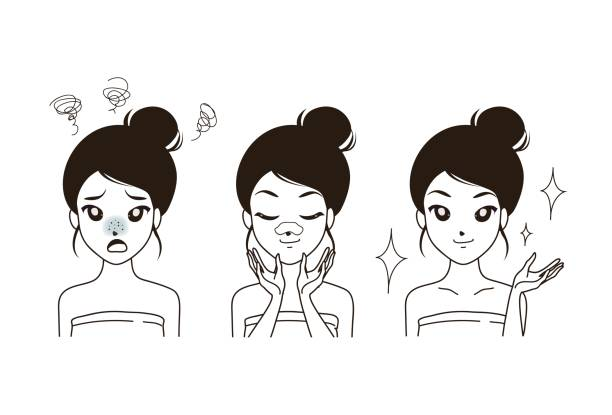 The girl is a pimple icon doodle. vector art illustration