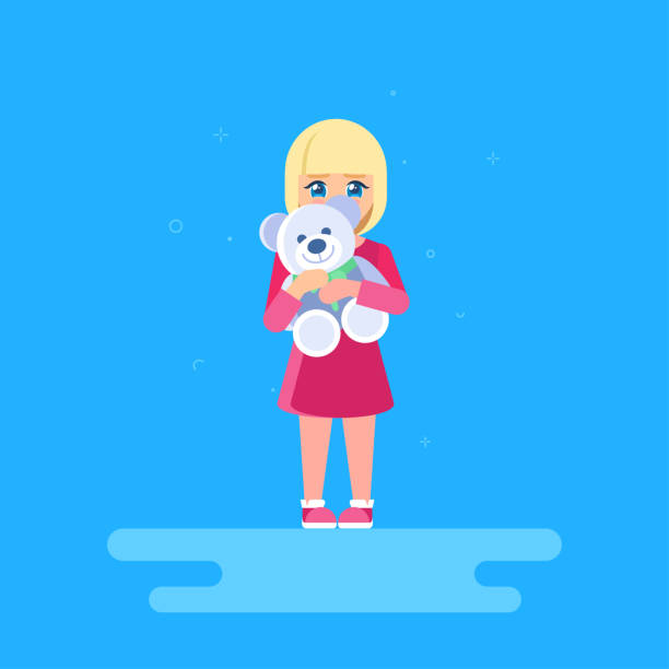 The girl is hugging a teddy bear. The girl is hugging a teddy bear. She is standing at full length and hiding behind a toy. The shy child. shy stock illustrations