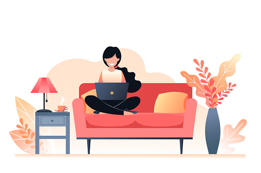 The girl is sitting on the couch and holding a laptop. Freelance and learning at home. Autumn interior room. Vector illustration