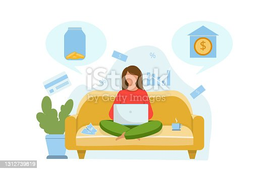 istock The girl is sitting on the couch and thinking about where to invest the money. Invest in a bank or store money in a glass jar. Vector flat illustration 1312739819