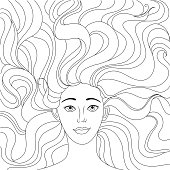 The girl lies on her back. A beautiful girl looks at you. Lush hair. Freehand sketch for adult anti stress coloring book page with doodle and sketch elements.
