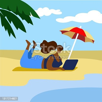 istock The girl lies on the beach with a laptop. Flat illustration. 1317214921
