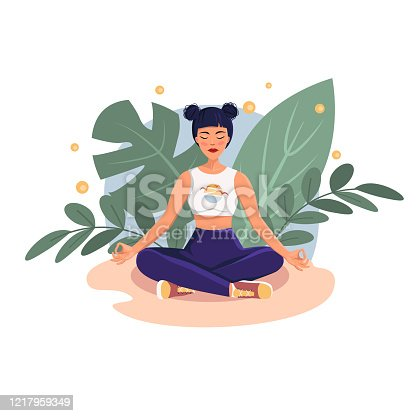 Vector illustration of a character doing yoga against a background of plants and flying fireflies