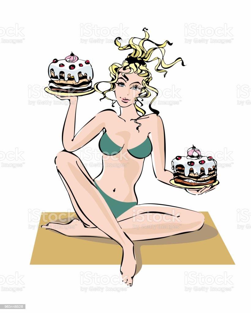 Kız bir diyet. Kek onun elinde tutan kadın. İroni. Kilo kaybetmek nasıl şaka. Neşeli görüntü. Kız mayo. Vektör. - Royalty-free Animasyon karakter Vector Art