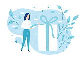 The girl opens a gift. Pulling a ribbon to untie a bow on a gift box. Vector illustration