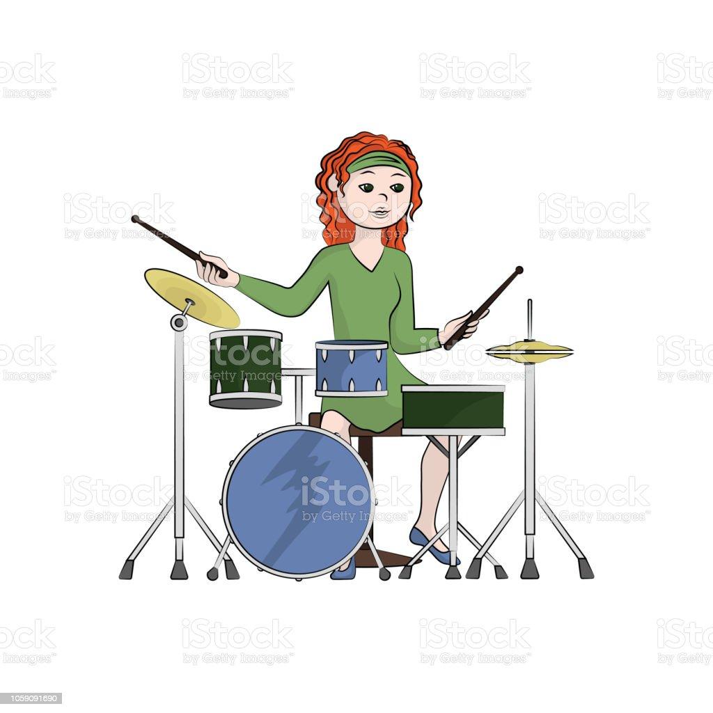 Das Mädchen Spielt Das Schlagzeug Farbe Der Vektorgrafik Stock