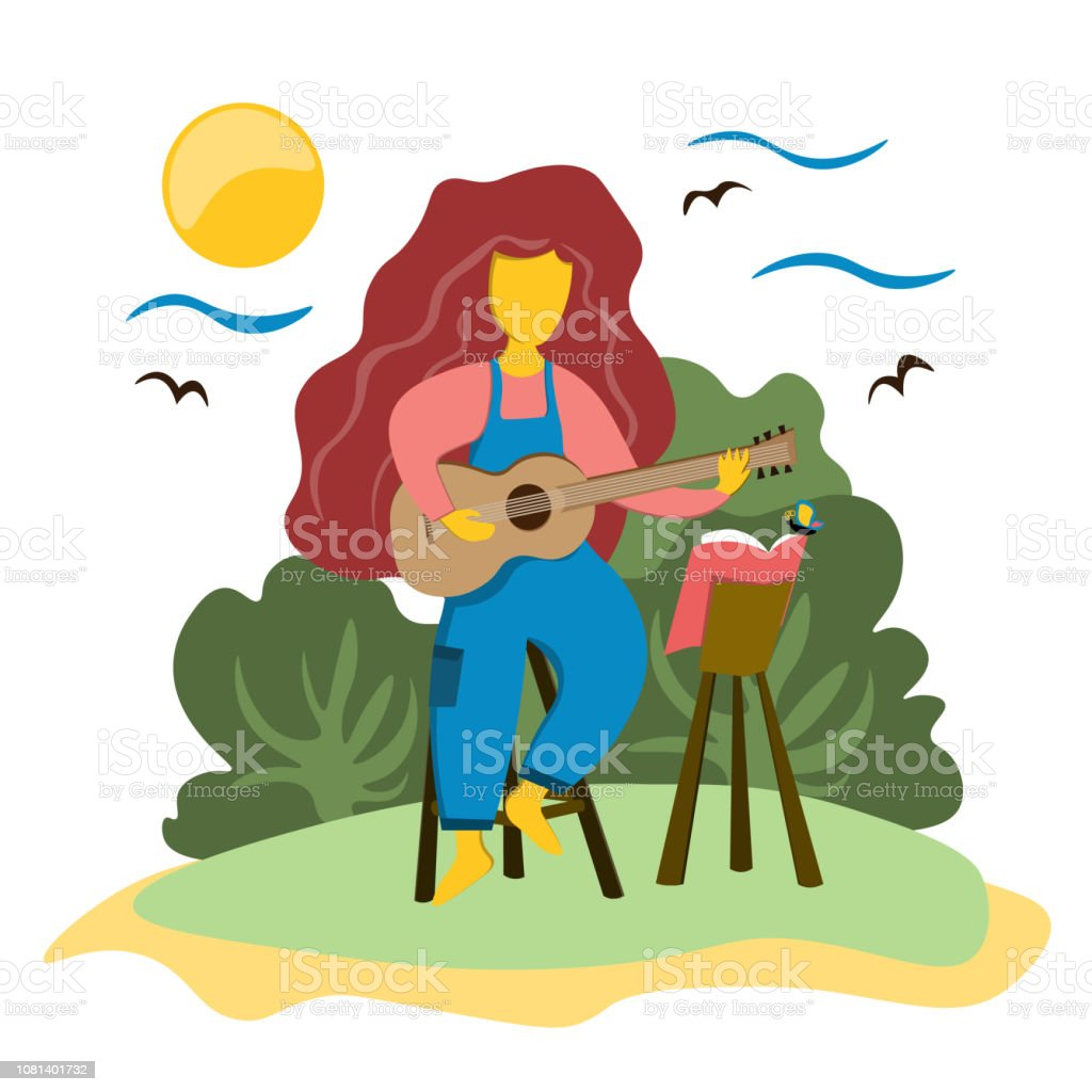 The girl plays the guitar sitting on a chair. Music in nature. Illustration in flat style. vector art illustration