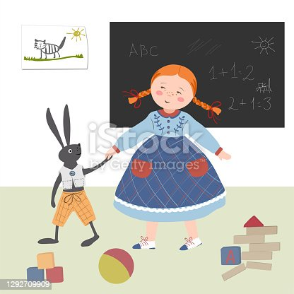 istock The girl plays with a hare to school in the playroom. Girl and her toy in hand drawn style. 1292709909