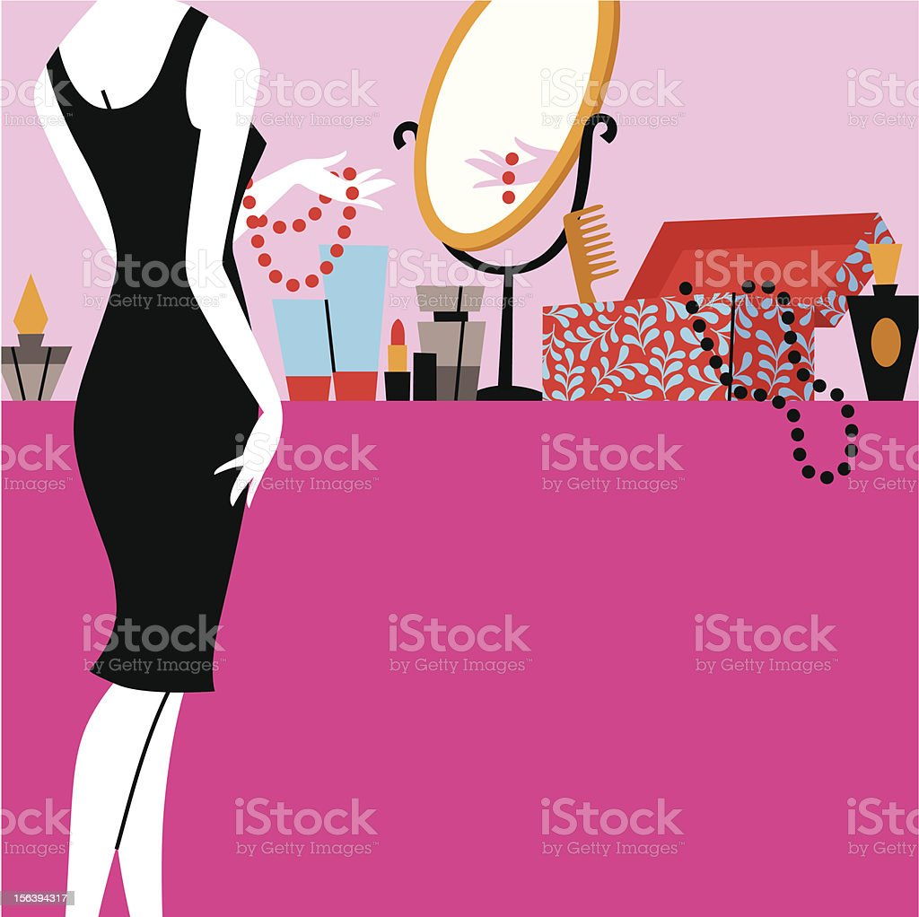The girl prepares for a party vector art illustration