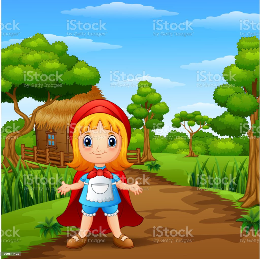 The Girl Red Hooded At Countryside Stock Illustration Download Image Now Istock