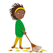 The girl removes autumn leaves with a brown rake. Cute dark-skinned girl in a green sweater. Autumn greetings of the season. Vector illustration on an white background. Stock image.