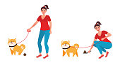 A woman cleans dog excrement of a special shovel. The concept of cleaning feces while walking dogs. Vector illustration of Pets