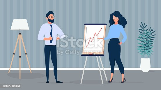 istock The girl shows a report to the boss. Presentation with positive dynamics. Board for paper. Infographics. Business growth. Isolated. Vector. 1302218964