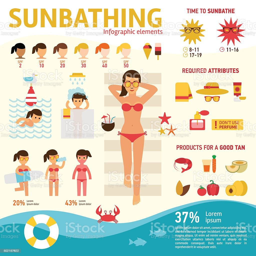 The girl sunbathes on the beach vector art illustration