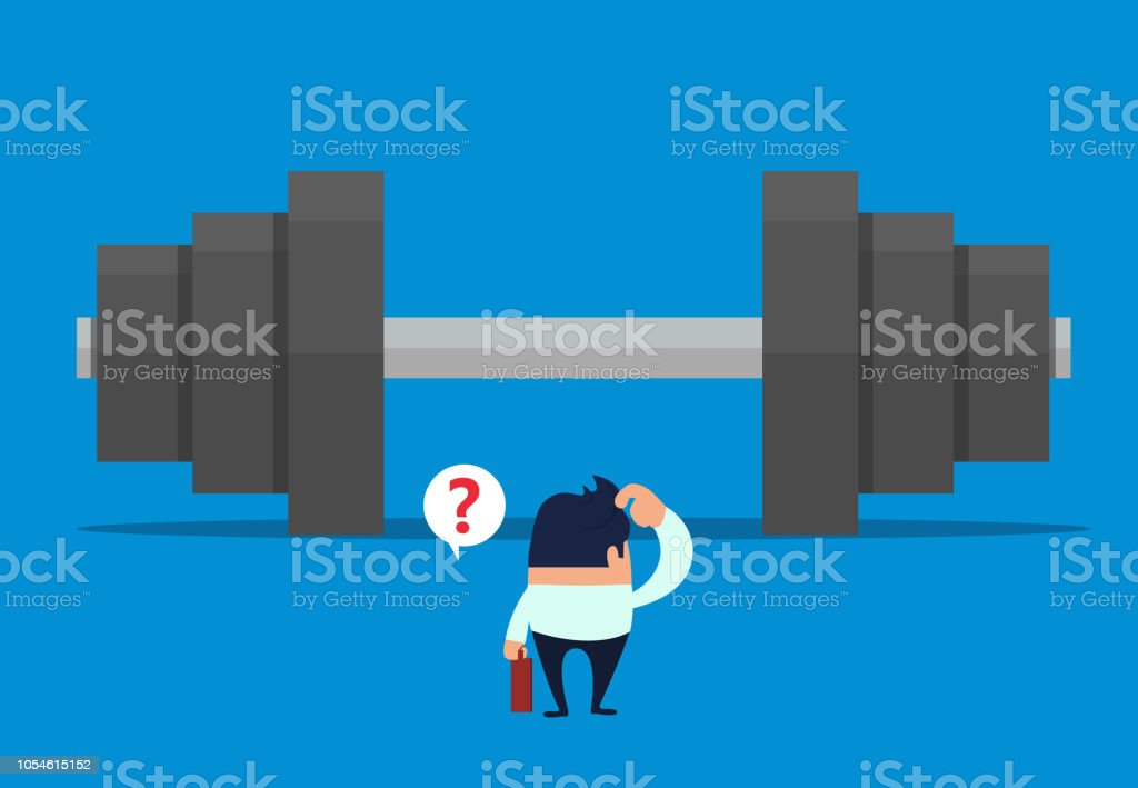 The goal of the businessman is to lift a huge dumbbell vector art illustration