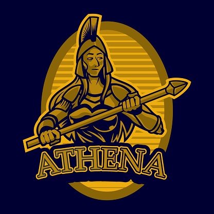 The goddess Athena holds a spear in her hand. Goddess of reason, wisdom, intelligence, skill, peace, warfare, battle strategy, and handicrafts. Series Greek gods. Based on authentic old painting.