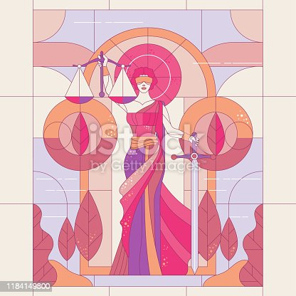 The goddess of justice Themis. Lady of justice Femida. Symbol of law and justice. glass painting illustration