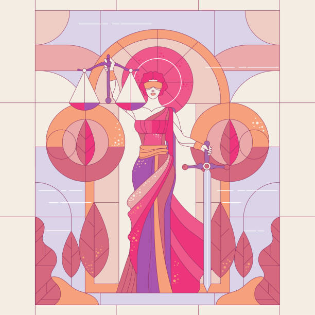 bildbanksillustrationer, clip art samt tecknat material och ikoner med gudinnan av rättvisa themis. lady av rättvisa femida. symbol för lag och rättvisa. glasmålning illustration - justitia