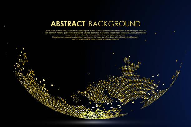 Die goldenen Punkte bilden die Welt und symbolisieren die blühende Weltwirtschaft, Vektor-Illustration – Vektorgrafik