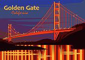 The Golden Gate Bridge at sunset in San Francisco, California, United States, vector illustration