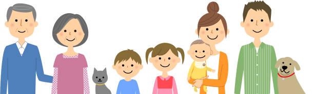 良い家族 - 家族 日本人点のイラスト素材/クリップアート素材/マンガ素材/アイコン素材