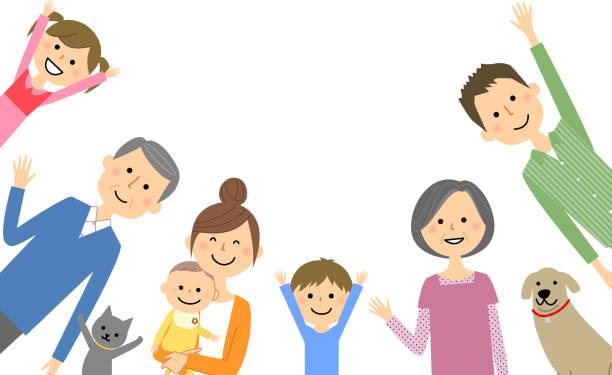 良い家族 - 母娘 笑顔 日本人点のイラスト素材/クリップアート素材/マンガ素材/アイコン素材