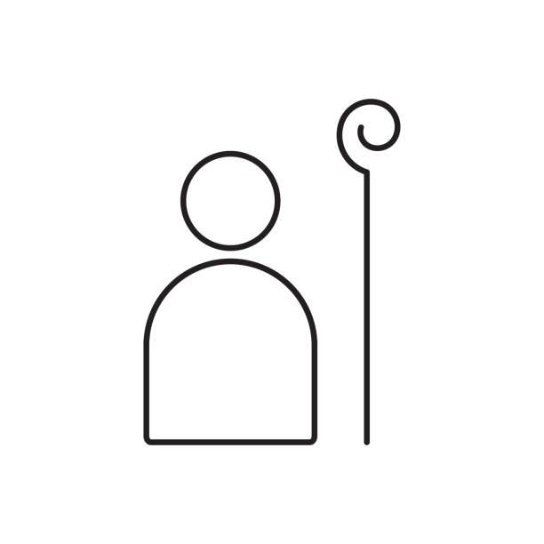 The Good Shepherd icon vector art illustration