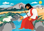 The good shepherd cares for the little lost sheep.