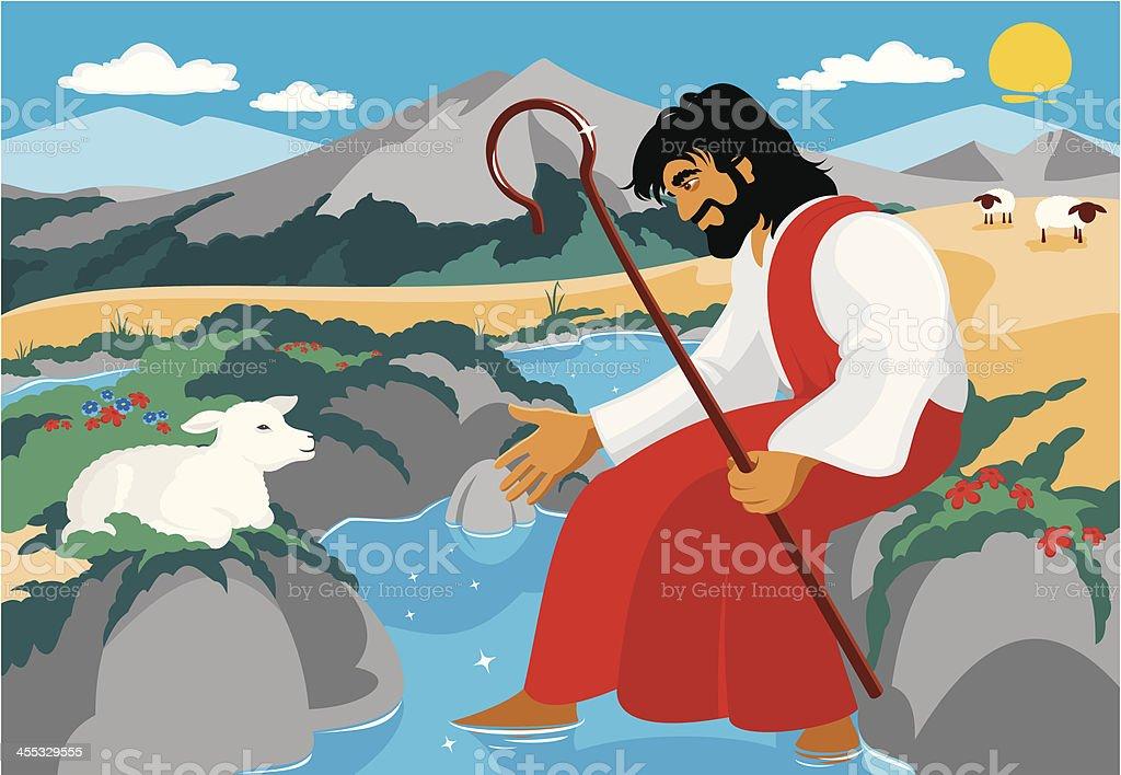 The Good Shepherd vector art illustration
