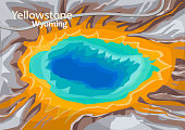 The Grand Prismatic Spring in Yellowstone National Park, largest hot spring in the United States, and the third largest in the world, Wyoming, United States, vector illustration