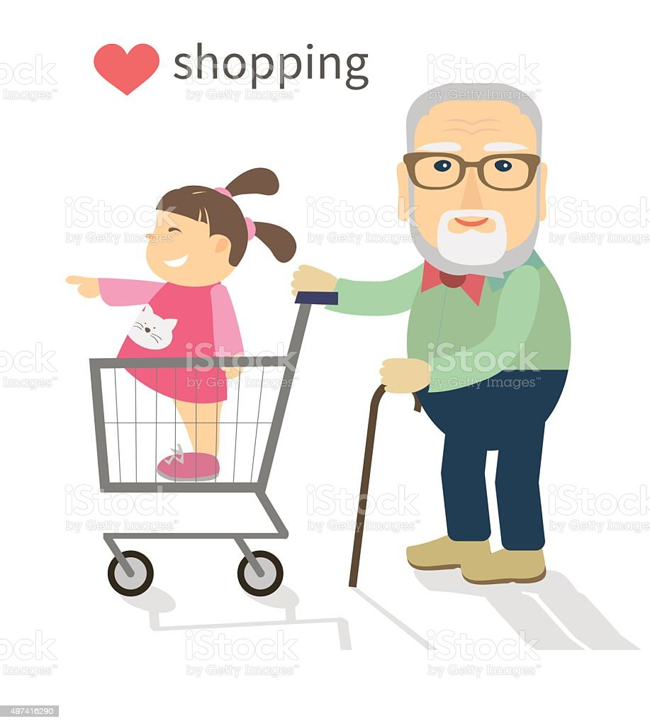 The grandfather and granddaughter went shopping vector art illustration