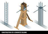 CONSTRUCTION OF A CONCRETE COLUMN. The graph shows a column of concrete before and after the wooden formwork on a white background. Vector image