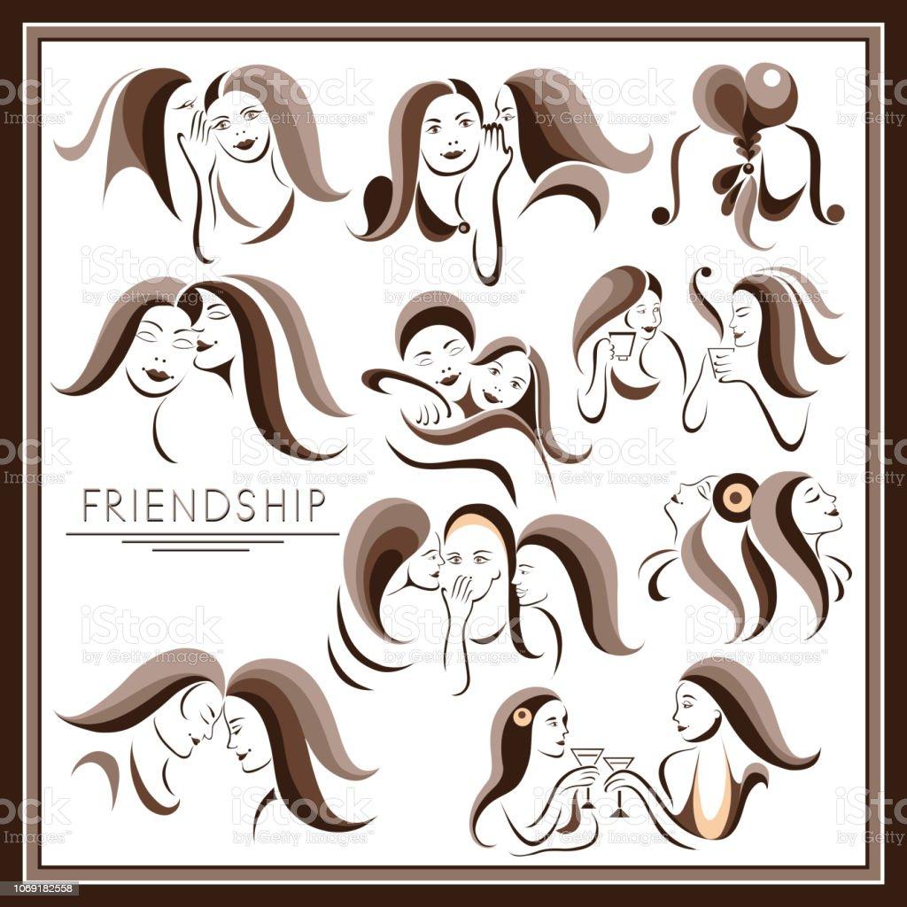 The graphic illustration with women's friendship _set 1 vector art illustration