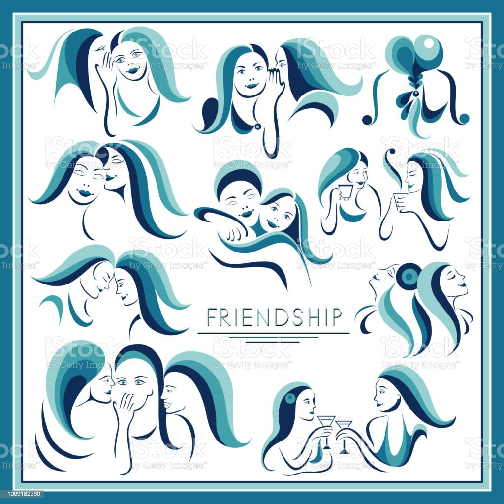 The graphic illustration with women's friendship _set 2 vector art illustration