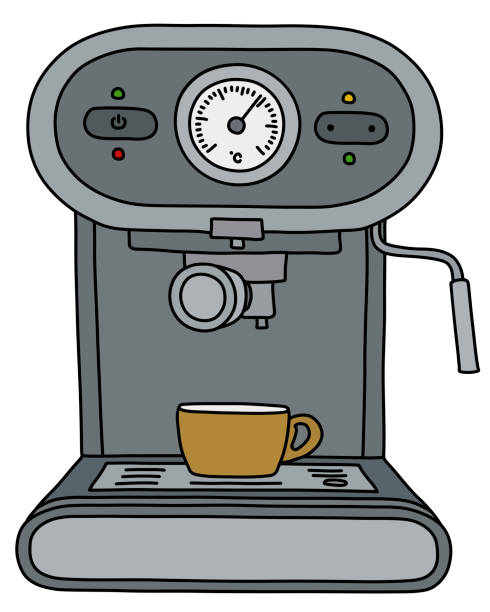 illustrazioni stock, clip art, cartoni animati e icone di tendenza di the gray electric espresso maker - argento metallo caffettiera