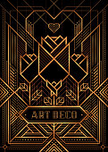 The Great Gatsby Deco Style vector, Golden Roses and Heart, Art Deco Vintage Frame Design, Abstract geometric patterned background.