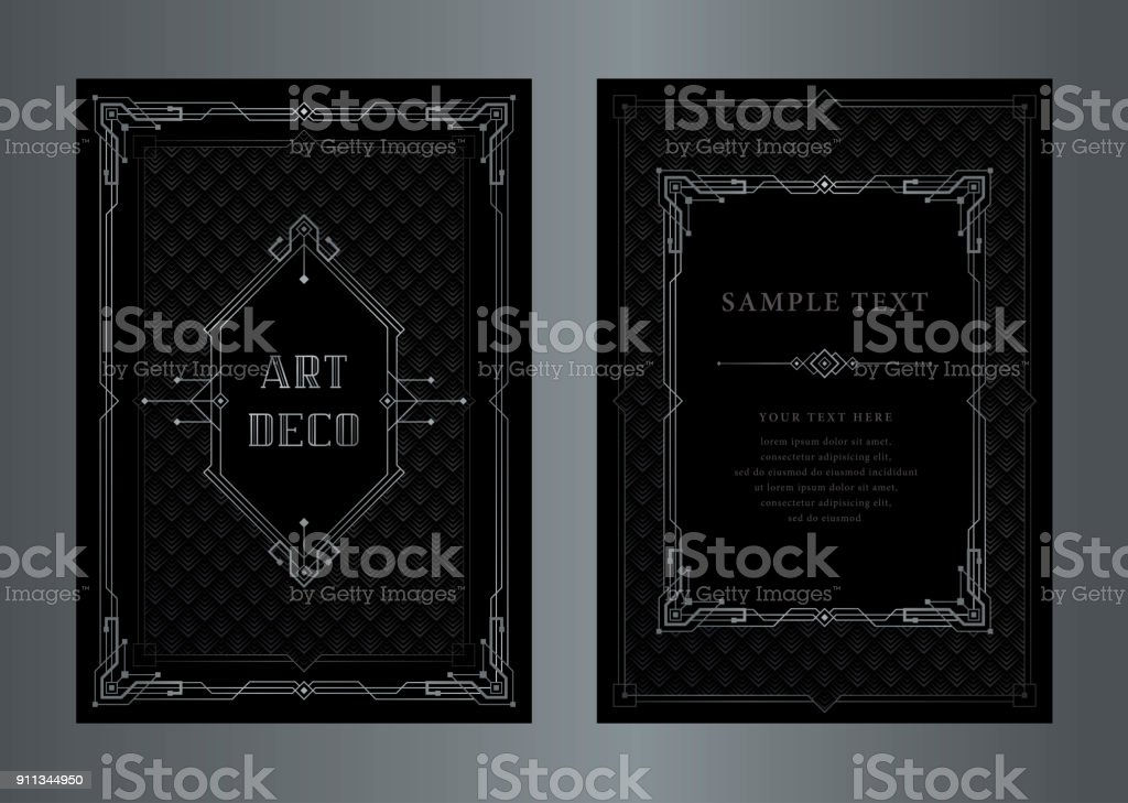 The Great Gatsby Vector Art Deco Style Silver Vintage Frame Stock