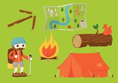 First set of a series of cartoon elements celebrating the great outdoors. This set includes a hiker, a campfire, a tent, a log with squirrel, a folded map and an arrow made from sticks.