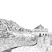 The Great Wall of China sketch hand drawn. Vector illustration
