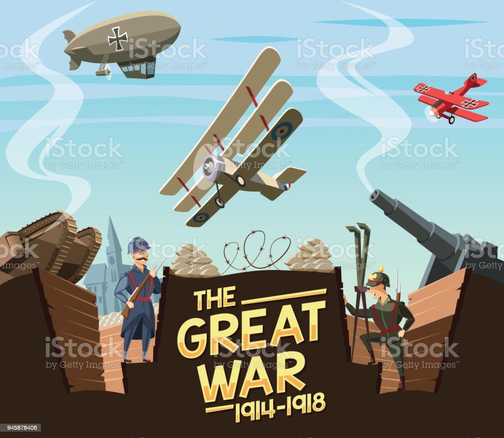 The Great War scene vector art illustration