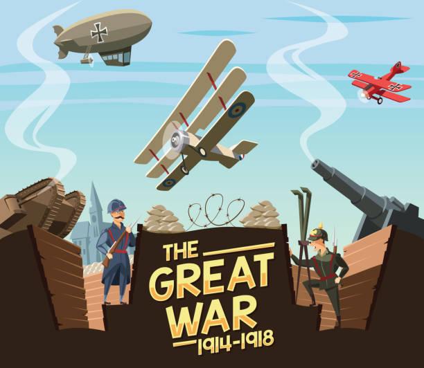 bildbanksillustrationer, clip art samt tecknat material och ikoner med stora kriget scenen - krig