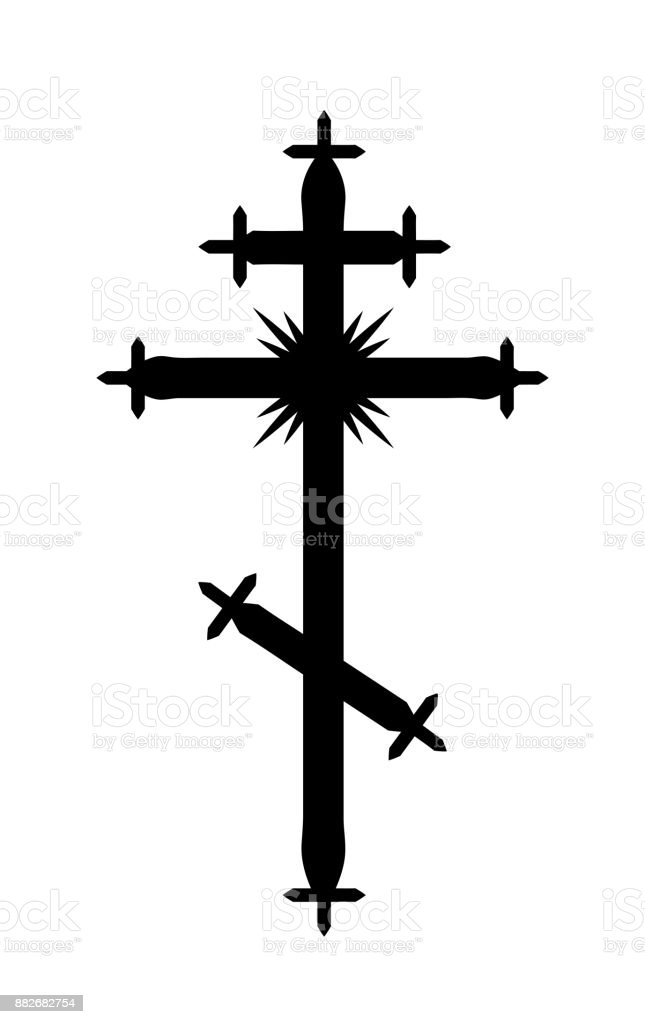 The Greek-Catholic Orthodox eight-pointed Cross. Christian symbol of The Faith, Redemption and Absolution of sins, Resurrection of The Dead, and Everlasting Salvation. vector art illustration